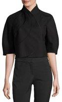 Akris Petal-Front Cropped Jacket, Black