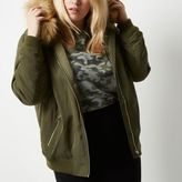 River Island Womens Plus khaki green padded bomber with hood