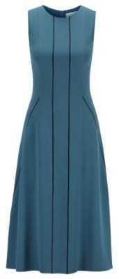 HUGO BOSS Sleeveless Dress In Satin Back Crepe With Lustrous Stripes - Dark Blue
