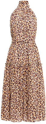 Zimmermann Silk Swing Gathered Leopard-print Silk Crepe De Chine Midi Dress