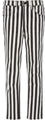 Nili Lotan Rigid High-Rise Striped Slim-Leg Jeans