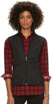 Chaps Petite Mixed-Media Quilted Vest