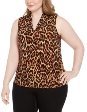 Anne Klein Plus Size Sleeveless Leopard Print Top