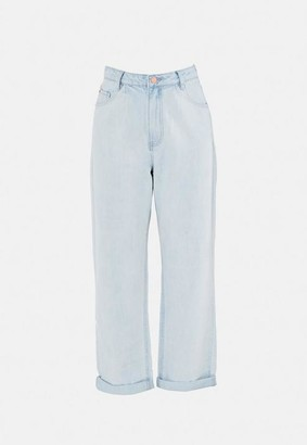 Missguided Blue Highwaisted Pleat Front Balloon Jeans