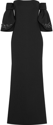 Badgley Mischka Off-the-shoulder Embellished Neoprene Gown