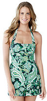 Classic Women's Petite Beach Living Dresskini Swimsuit Top-Deep Sea Paisley