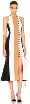 David Koma Loops & Metal Front Detail Paneled Tea Dress