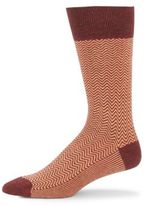 Saks Fifth Avenue Jaspe Chevron Pattern Crew Socks