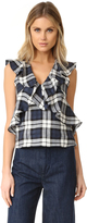 Marissa Webb Margeaux Plaid Top