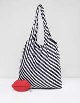 Lulu Guinness Stripe Foldaway Shopper Bag in Red Rubber Lips