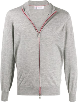 Brunello Cucinelli Zip-Up Mock Neck Cardigan