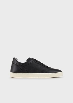 Giorgio Armani Leather Sneakers With Embossed Logo