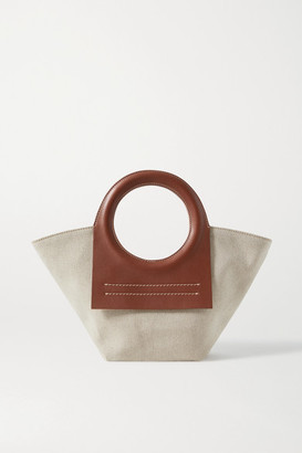 Hereu Cala Mini Leather-trimmed Canvas Tote - Brown