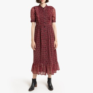 La Redoute Collections Ruffled Boho Midi Dress in Floral Print with Short Sleeves and Buttons