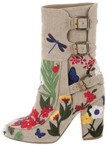 Laurence Dacade Merli Floral-Embroidered Ankle Boots