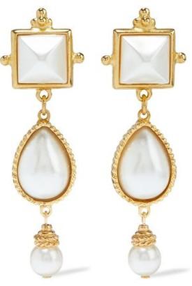 Ben-Amun 24-karat Gold-plated Faux Pearl Earrings