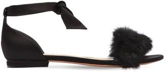 Alexandre Birman 10mm Clarita Rabbit Fur Satin Flats
