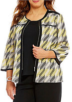 Ming Wang Plus Multi Color Patterned Jacket