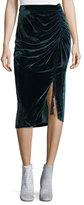 Rebecca Minkoff Romy Ruched Velvet Midi Skirt