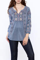 Johnny Was Washed Blue Tunic Top