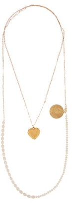 Timeless Pearly - Pearl And Charm Double-layer Gold-plated Necklace - Womens - Pearl