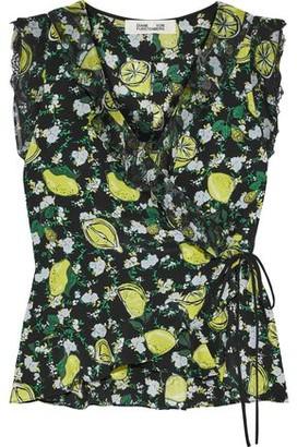 Diane von Furstenberg Peona Printed Georgette-trimmed Silk Crepe De Chine Wrap Top
