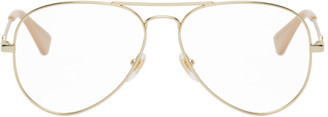 Gucci Gold and Pink Aviator Glasses