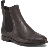 Wine Flat Chelsea Leather Booties