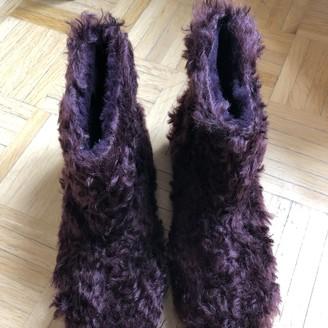 Miu Miu Burgundy Shearling Ankle boots