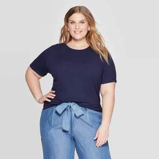 Ava & Viv Women's Plus Size Rib Short Sleeve Crewneck T-Shirt