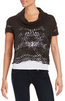 Free People Crocheted Lace-Paneled Sweater