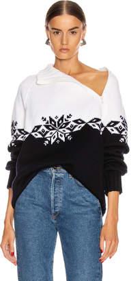 Monse Snowflake Zip Turtleneck Sweater in Midnight & Ivory   FWRD