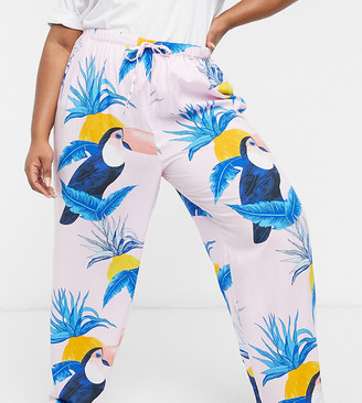 ASOS DESIGN Curve mix & match toucan print 100% modal pajama pants in pink