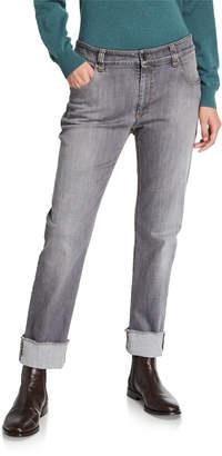 Brunello Cucinelli Monili-Beaded Cuffed Jeans