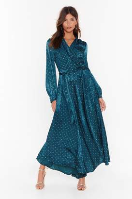 Nasty Gal Womens Oh I'm Dot Stopping Satin Maxi Dress - green - 6