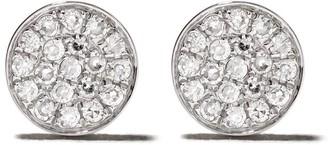 Ef Collection 14kt White Gold Mini Diamond Disc Stud Earrings