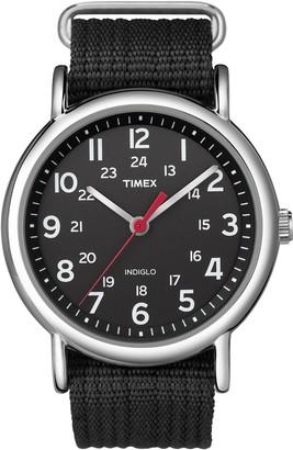 Timex Unisex T2N647 Weekender 38mm Black Nylon Slip-Thru Strap Watch