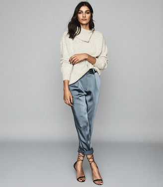 Reiss Cassie - Zip Detail Roll Neck Jumper in Grey