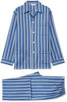 Derek Rose Wellington 42 Blue Striped Cotton Pyjama Set