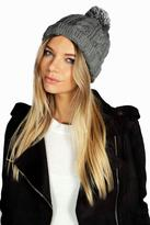 Boohoo Rosie Chunky Knit Bobble Hat