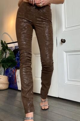 Jaded London Brown PU Flare Trousers - Brown UK 6 at Urban Outfitters