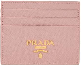 Prada Pink Saffiano Logo Card Holder