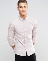 Asos Skinny Shirt In Dusty Pink With Button Down Collar