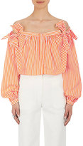 Maison Rabih Kayrouz Women's Striped Cotton Poplin Off-The-Shoulder Blouse