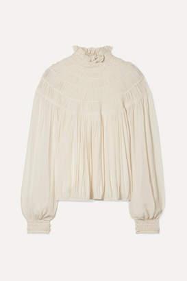 Chloé Ruffled Pleated Silk-crepe Blouse - Cream