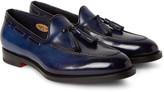 Santoni - Burnished-leather Tasselled Loafers