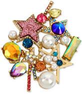 Betsey Johnson Gold-Tone Multi-Stone & Imitation Pearl Star Cluster Pin