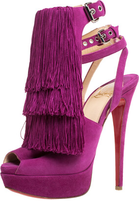 Christian Louboutin Fuchsia Suede Change Of The Guard Cross Ankle Strap Sandals Size 36