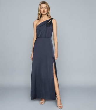Reiss DOROTHY One Shoulder Satin Maxi Dress Navy