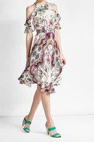 Etro Printed Silk Cold-Shoulder Dress